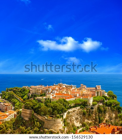 Panoramic view of Monaco with Prince's Palace and Oceanographic Museum. Mediterranean Sea. French riviera in the south of France - stock photo