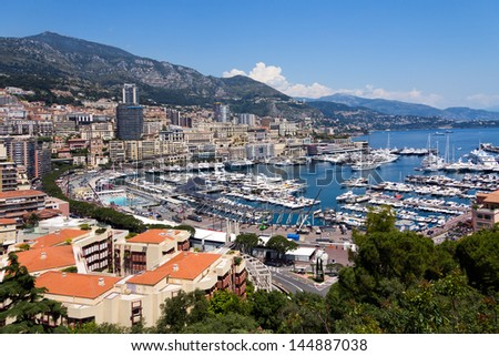 panoramic view of Monaco with the famous harbour - stock photo