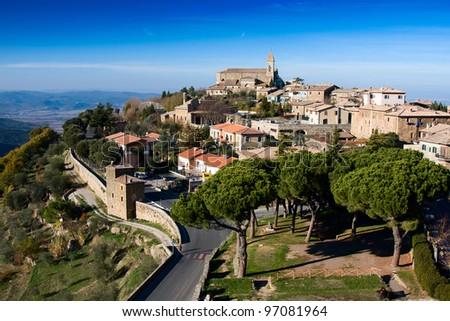 Panoramic view of Montalcino, Tuscany. Italy. - stock photo