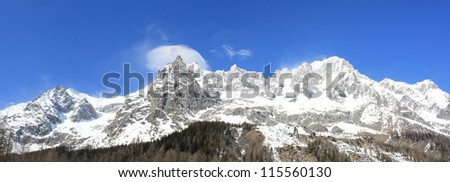 Panoramic View of Monte Bianco mountains ( Courmayer Aosta Valley ) - stock photo