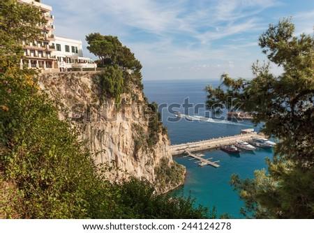 Panoramic view of Monte Carlo harbour in Monaco - stock photo