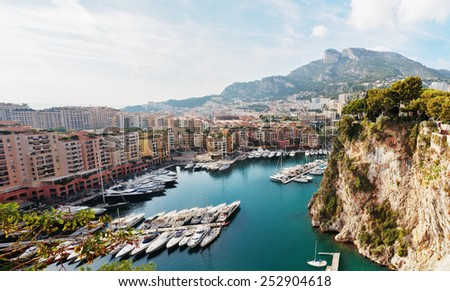 Panoramic view of Monte Carlo harbour in Monaco - stock photo