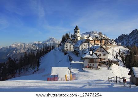 Panoramic view of Monte Lussari, idyllic mountain village in Italy - stock photo