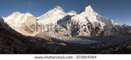 Panoramic view of Mount Everest, Lhotse and Nuptse from Pumo Ri base camp - way to Mount Everest base camp, Khumbu valley, Sagarmatha national park, Nepal  - stock photo