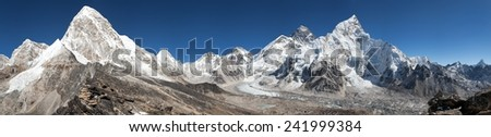 Panoramic view of Mount Everest, Lhotse, Nuptse, Pumo Ri and Kala Patthar- way to Everest base camp - Nepal