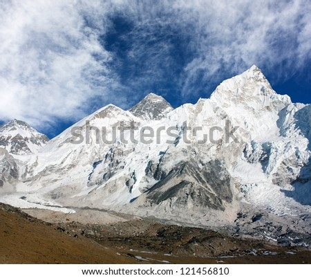 panoramic view of Mount Everest with beautiful sky and Khumbu Glacier - Khumbu valley - Nepal - stock photo