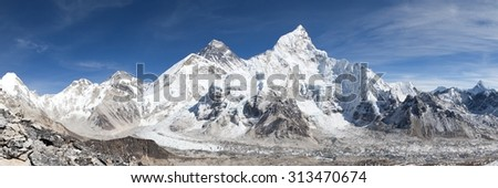 panoramic view of Mount Everest with beautiful sky and Khumbu Glacier - way to Everest base camp, Khumbu valley, Sagarmatha national park, Nepal