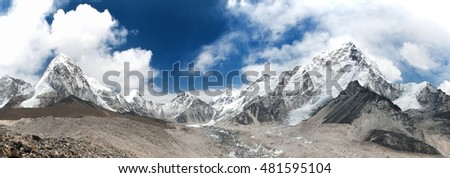 panoramic view of Mount Everest with beautiful sky and Khumbu Glacier - way to Everest base camp, Khumbu valley,  Nepal