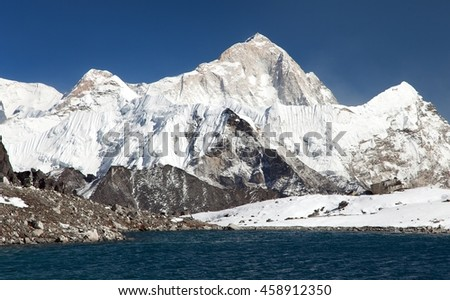 Panoramic view of Mount Makalu above lake near Kongma La pass, three passes trek, way to Everest base camp, Khumbu valley, Sagarmatha national park, Nepal