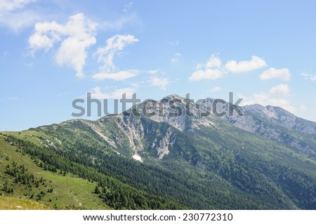 Panoramic view of mountain landscape of Italian Alps - Monte Baldo - stock photo