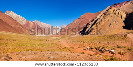 Panoramic view of mountain valley in the Andes with hikers trekking, Argentina, South America