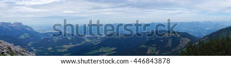 Panoramic view of mountains and valleys from the Eagle's Nest in Obersalzburg, Berchtesgaden, Germany