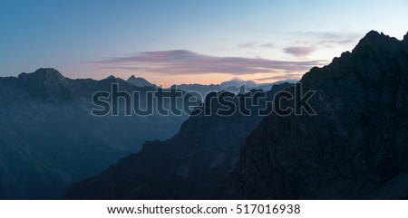Panoramic view of mountains at dusk from Olan, National Park of Ecrins, Alps, France