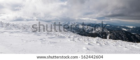 Panoramic view of mountains landscape - stock photo
