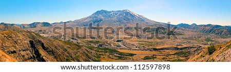 Panoramic view of Mt St Helens - stock photo