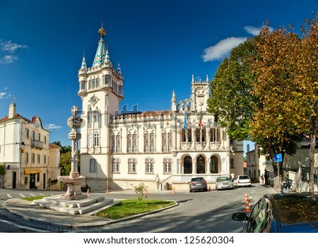 Panoramic view of Municipality of Sintra (Camara Municipal de Sintra), Portugal - stock photo