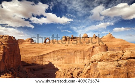 panoramic view of natural arch and rock formations, Arches national Park - stock photo