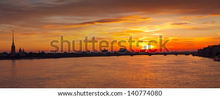 Panoramic view of Neva river in dawn. Saint Petersburg, Russia - stock photo