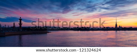 Panoramic view of Neva river in summer dawn. Saint Petersburg, Russia - stock photo