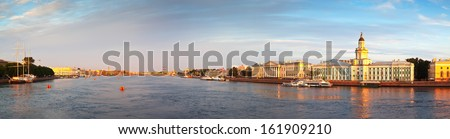Panoramic view of Neva river in summer. Saint Petersburg, Russia