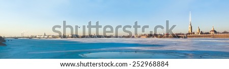 Panoramic view of Neva river in winter on sunny day in Saint Petersburg, Russia - stock photo