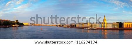 Panoramic view of Neva river. Saint Petersburg, Russia - stock photo