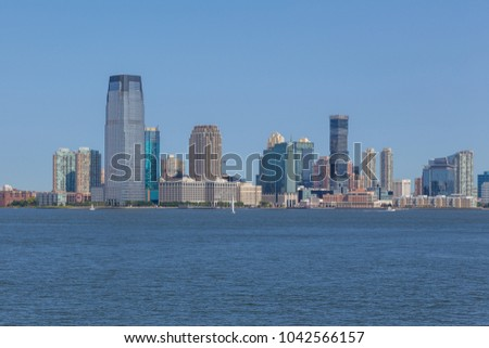 Panoramic view of New Jersey City skyline from the Staten Island public ferry. New York. USA.