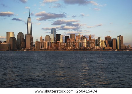Panoramic view of New York City Skyline on water featuring One World Trade Center (1WTC), Freedom Tower, New York City, New York, USA, 03.20.2014 - stock photo