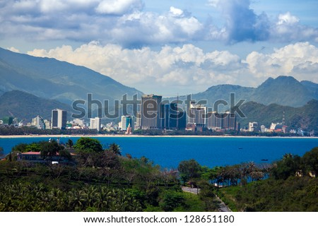 Panoramic view of Nha Trang, Vietnam from cable way to Vinpearl - stock photo