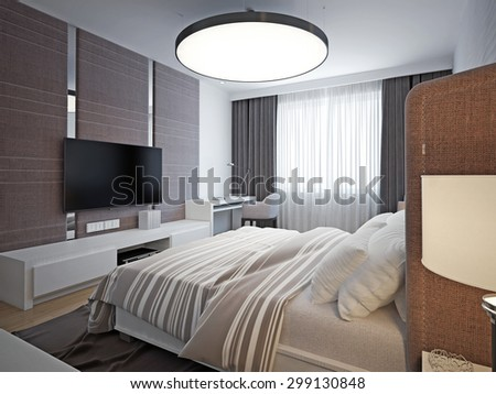 Panoramic view of nice cozy bedroom. Spacious, elegant room with good lighting and comfortable soft design. 3D render - stock photo