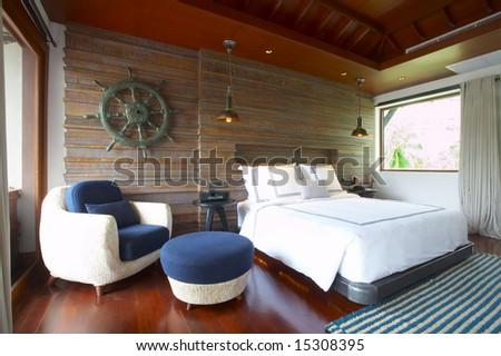 Panoramic view of nice light living room. - stock photo