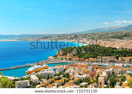 Panoramic view of Nice, mediterranean resort, Cote d'Azur, France, french riviera - stock photo