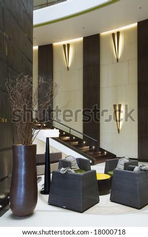 Panoramic view of nice modern stylish business center interior - stock photo