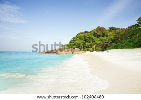 panoramic view of nice  paradise like empty tropical beach - stock photo