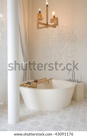 Panoramic view of nice stylish bathroom with some accessories - stock photo