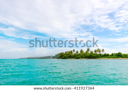 Panoramic view of No Mans Land in Tobago West Indies tropical island
