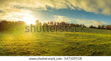 panoramic view of Northern Ireland countryside morning sunrise