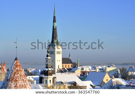 Panoramic view of old part of Tallinn (Estonia) in winter during a sunshine day - stock photo