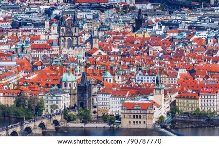 Panoramic view of Old town of Prague with tiled roofs. Prague, Czech Republic