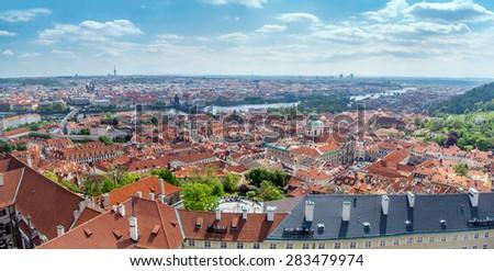 Panoramic view of Old Town Prague with Charles Bridge, Prague, Czech Republic - stock photo