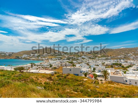 panoramic view of Ornos in Mykonos island in Greece - stock photo
