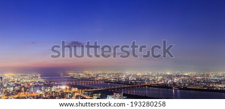 panoramic view of Osaka from the top floor of the highest building in town Symphony Hall, Japan - stock photo