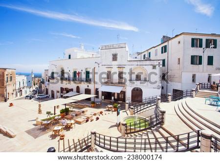Panoramic view of Ostuni. Italy - stock photo