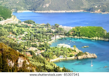 Panoramic view of Paleocastritsa. Corfu. Greece