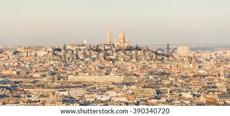 Panoramic view of Paris city ( Montmartre area) during sunset - stock photo
