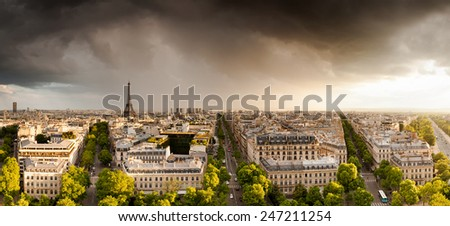Panoramic view of Paris from the Arc de Triomphe  - stock photo