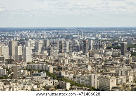 Panoramic view of Paris from the Montparnasse Tower