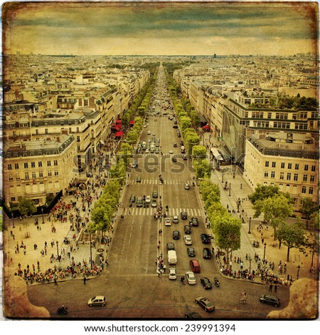 Panoramic view of Paris in vintage style - stock photo
