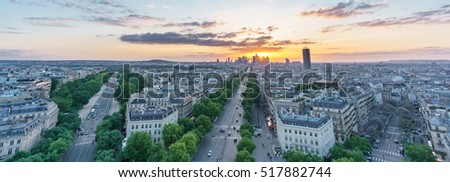 Panoramic view of Paris skyline with la defense from top of arc triomphe