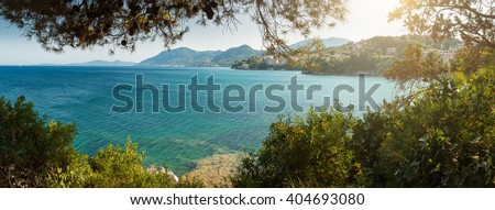 Panoramic view of Perama coast from Pontikonisi, Corfu, Greece